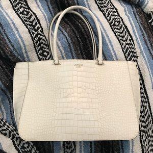 Guess faux crocodile white tote purse